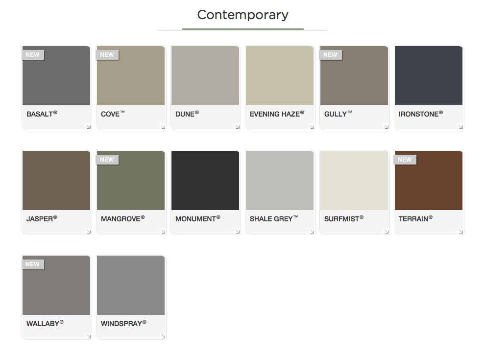 Contemporary-Colorbond-Colors